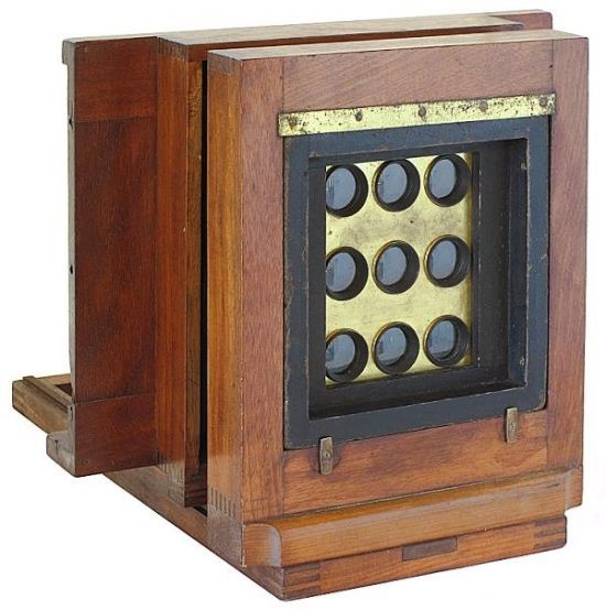 Peck style 9-tube 'gem' wetplate Camera, 1860s