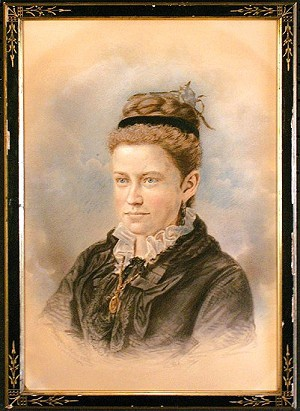 1872 crayon portrait of a young woman by Frank Pearsall's gallery.