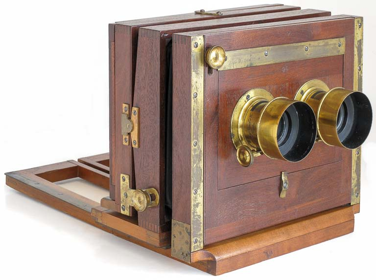 Late-1860s stereo wetplate by John Stock (American Optical Factory)